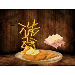 Milanesa con jamón, queso